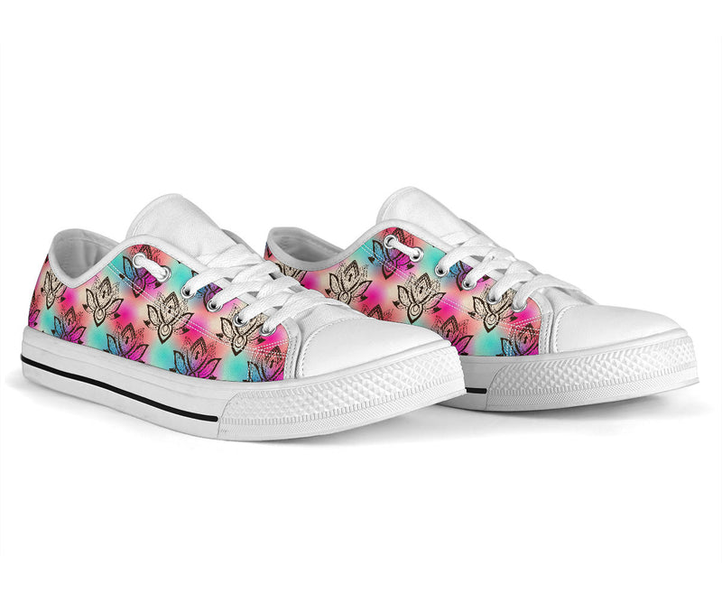 lotus Boho Pattern Print Design LO02 White Bottom Low Top Shoes
