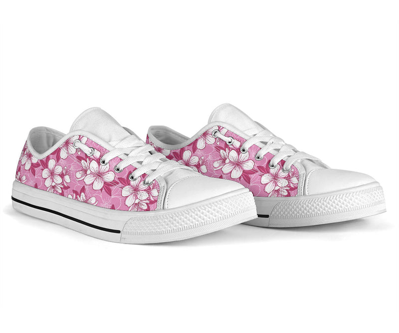 Cherry Blossom Pattern Print Design CB02 White Bottom Low Top Shoes