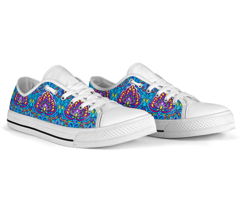 lotus Boho Pattern Print Design LO010 White Bottom Low Top Shoes