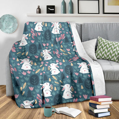 Rabbit Pattern Print Design RB013 Fleece Blanket