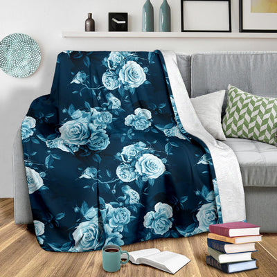 Rose Blue Pattern Print Design RO014 Fleece Blanket