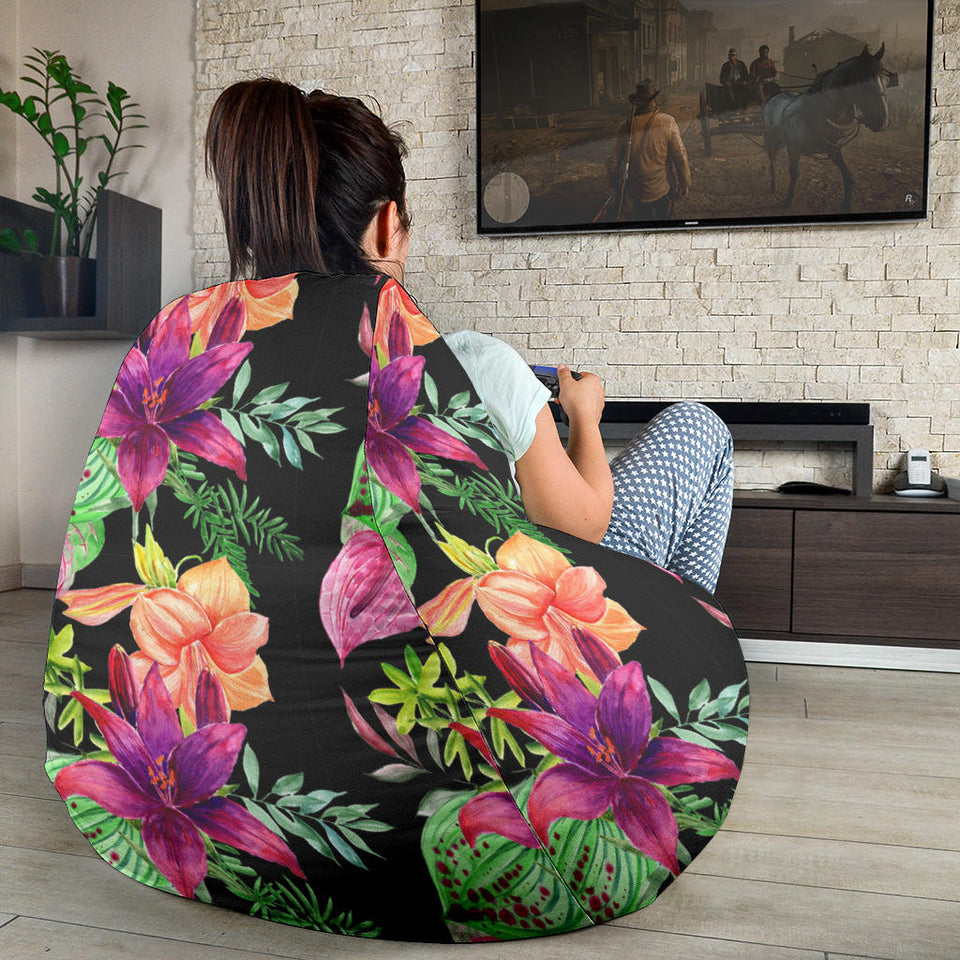 Amaryllis Pattern Print Design AL09 Bean Bag Chairs