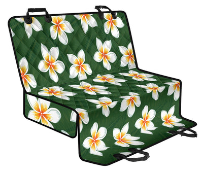 White Plumeria Pattern Print Design PM020 Rear Dog  Seat Cover