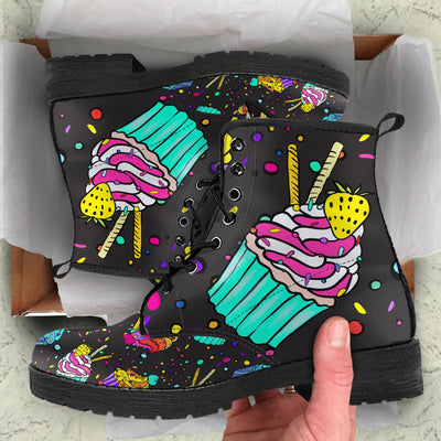 Colorful Cupcake Pattern Leather Boots