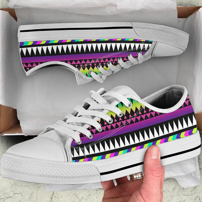 Animal Skin Aztec Rainbow White Bottom Low Top Shoes