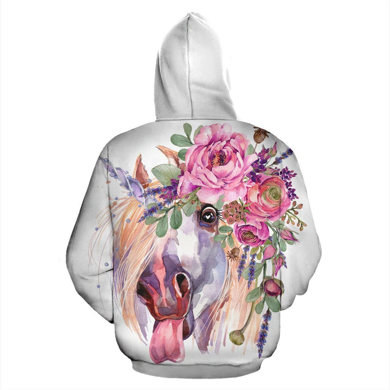 Funny Floral White Horse Women Men Zip Up Hoodie