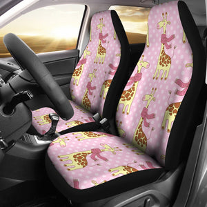 Giraffe Cute Pink Polka Dot Print Universal Fit Car Seat Covers