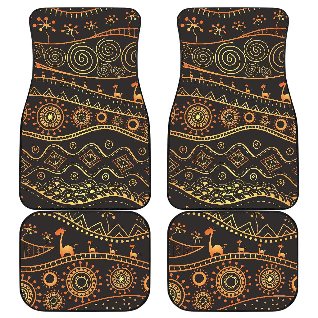 Gold African Design Front and Back Car Floor Mats