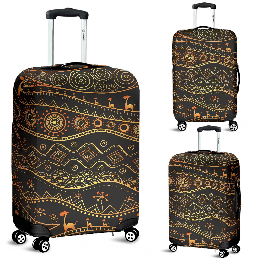 Gold African Design Luggage Cover Protector