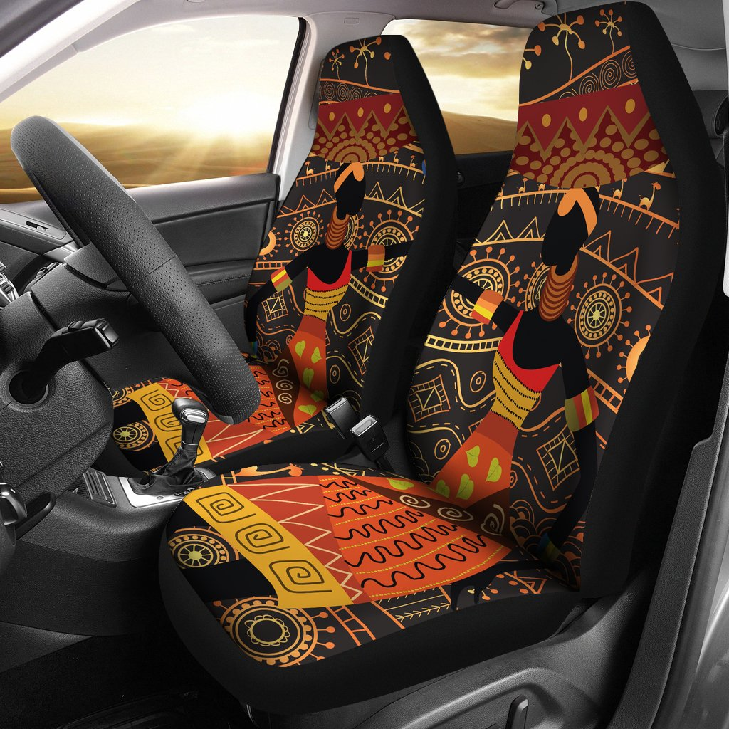 Gold African Design Universal Fit Car Seat Covers