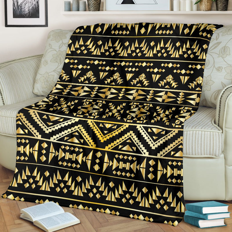 Gold Aztec Tribal Fleece Blanket