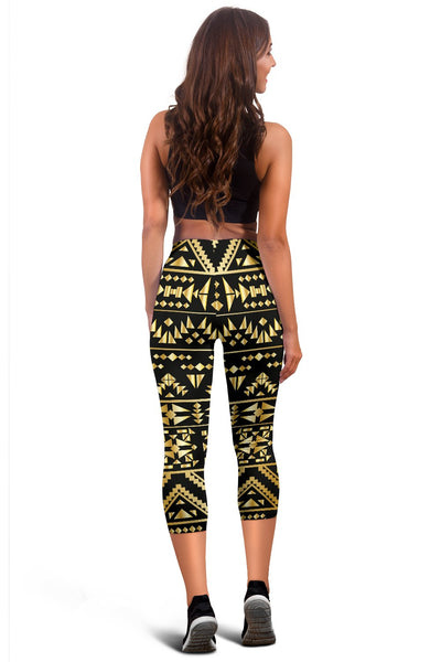 Gold Aztec Tribal Women Capris