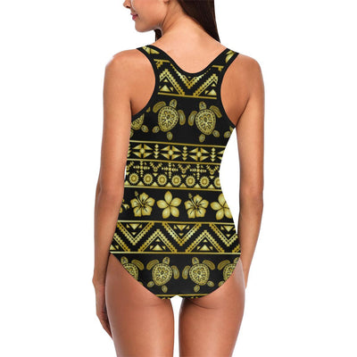 Tribal Aztec Sea Turtle Hawaiian Flower Women One Piece Swimsuit