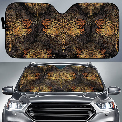 Gold Dragonfly Mandala Car Sun Shade-JorJune