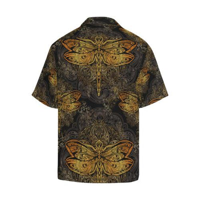 Gold Dragonfly Mandala Men Hawaiian Shirt