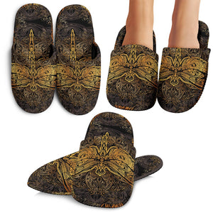 Gold Dragonfly Mandala Slippers
