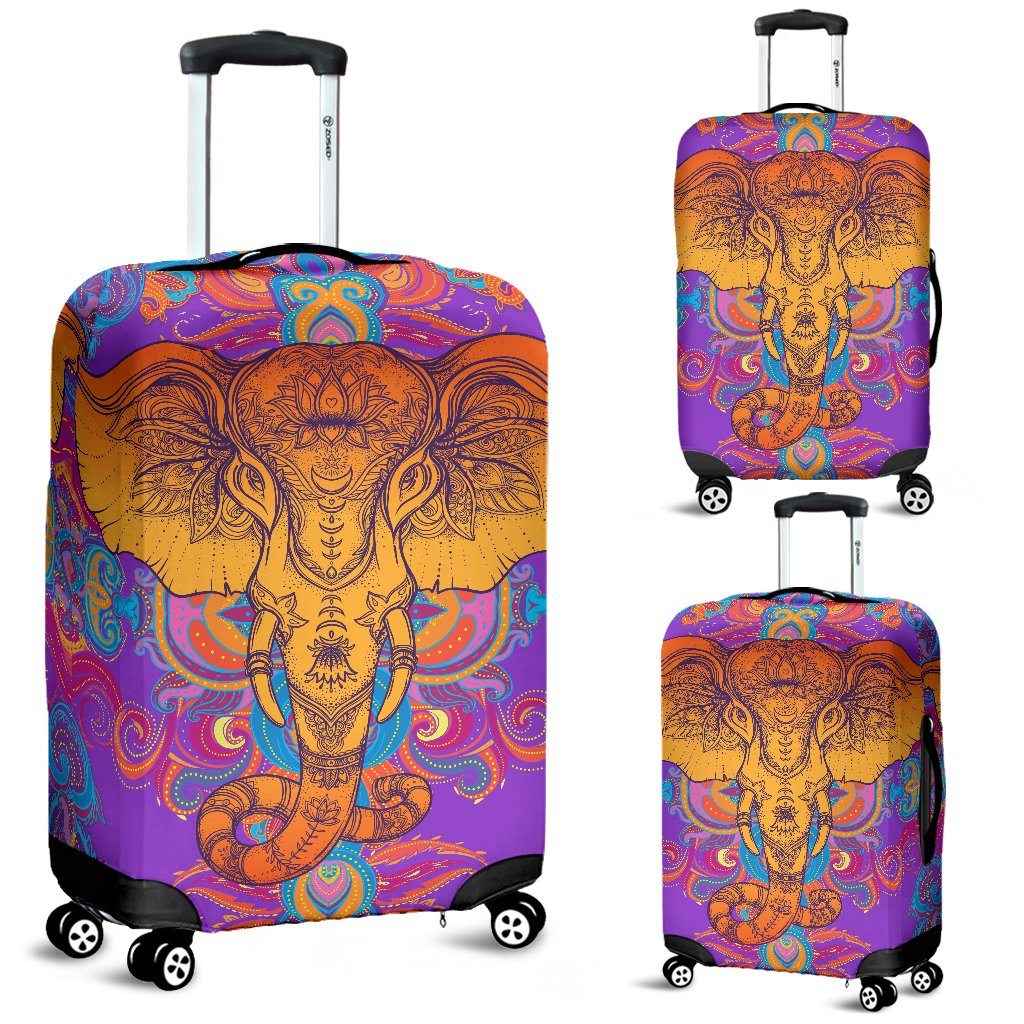 Gold Elephant Indian Luggage Cover Protector
