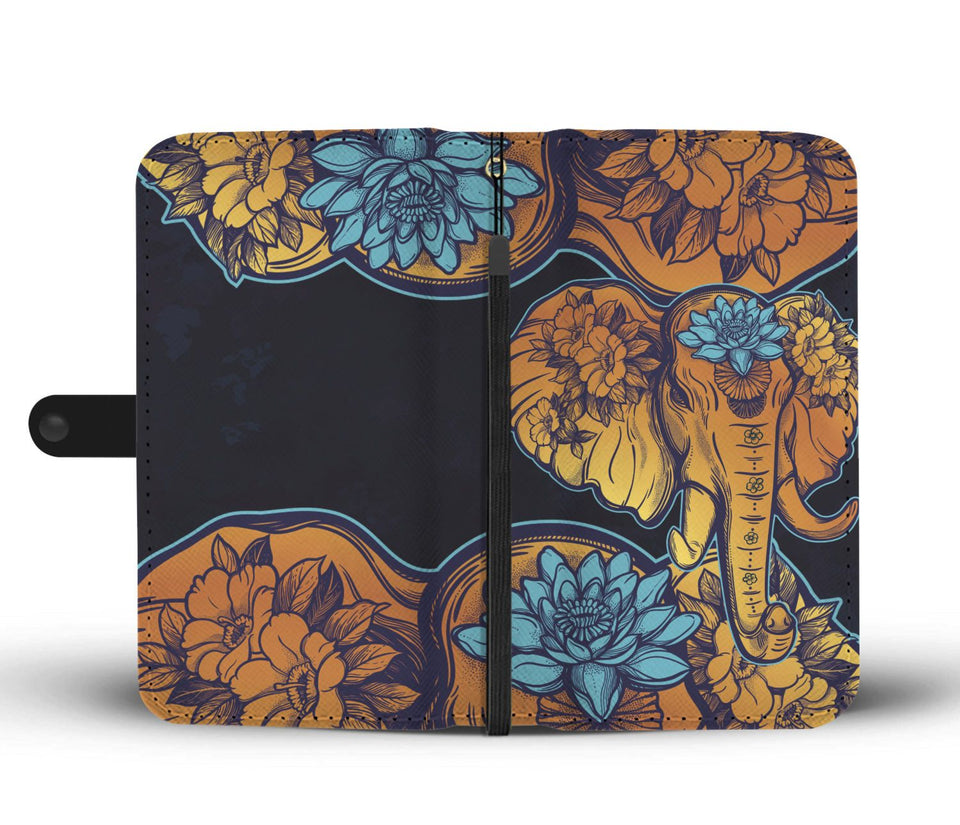 Gold Elephant Lotus Wallet Phone Case