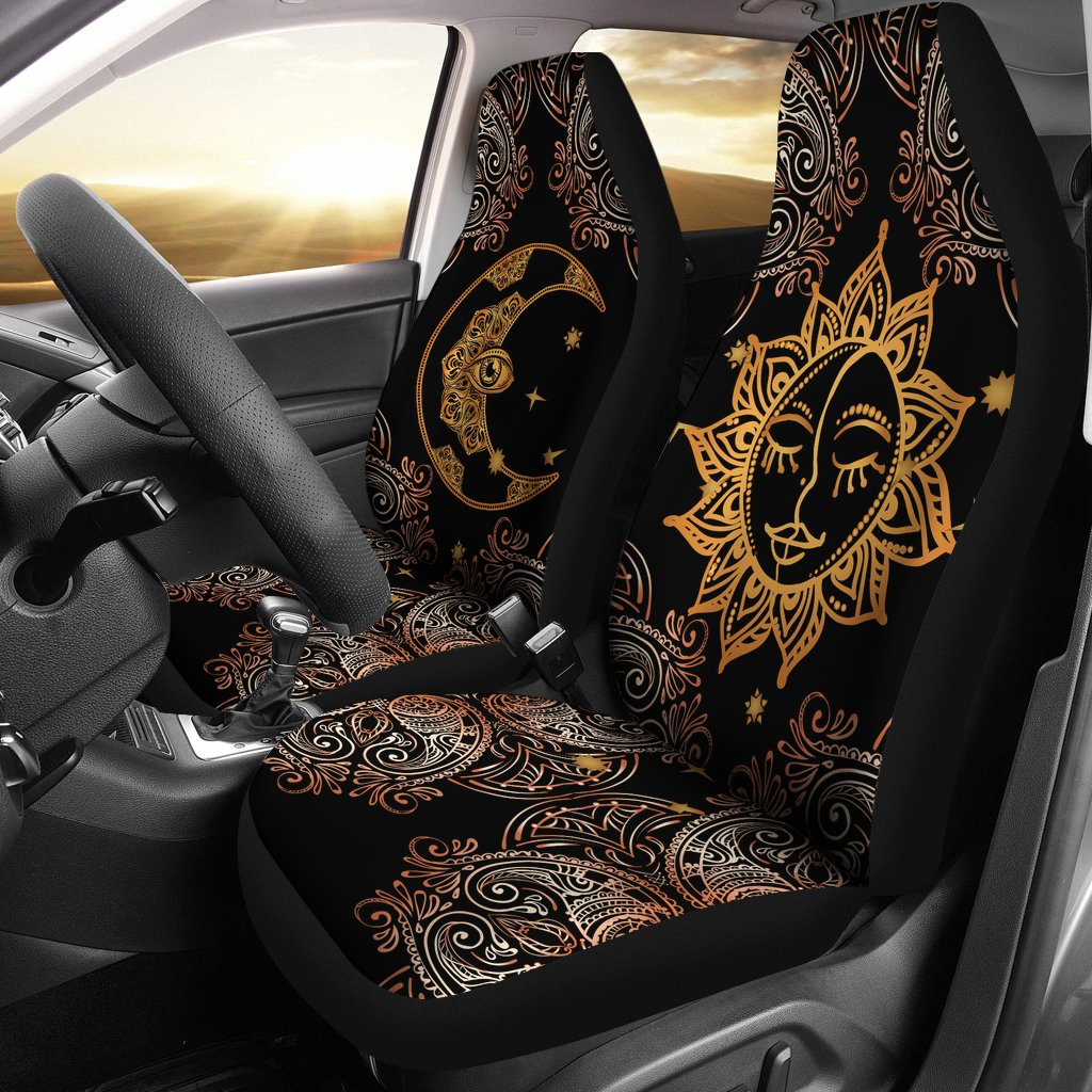 Gold Eye Sun Moon Mandala Universal Fit Car Seat Covers