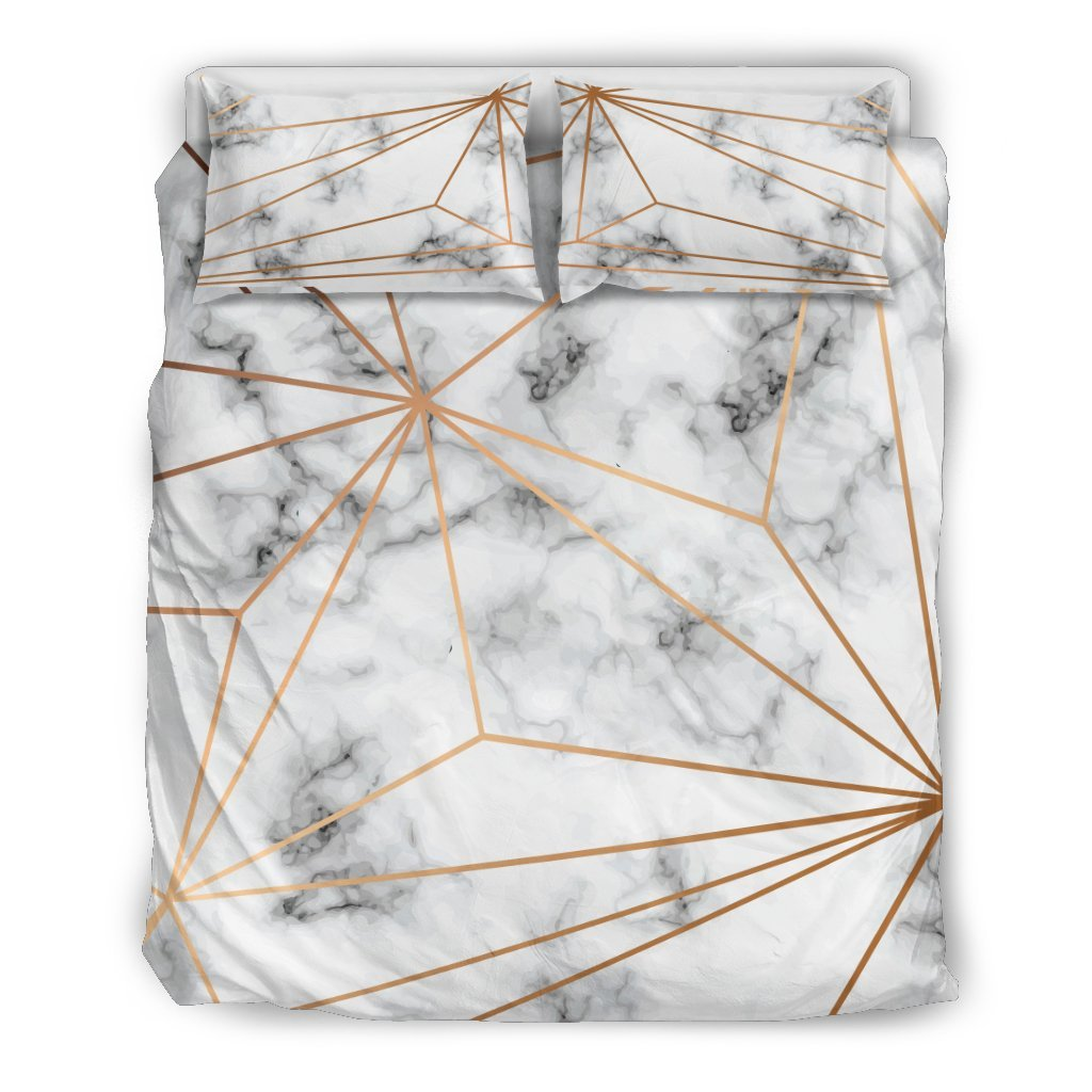 Gold Geometric Line Marble Duvet Cover Bedding Set