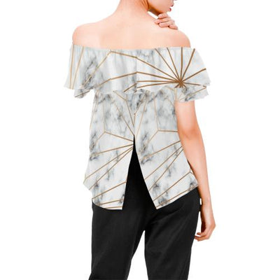Gold Geometric Line Marble Off Shoulder Ruffle Blouse