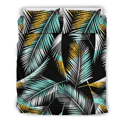 Gold Glitter Cyan Tropical Palm Leaves Duvet Cover Bedding Set