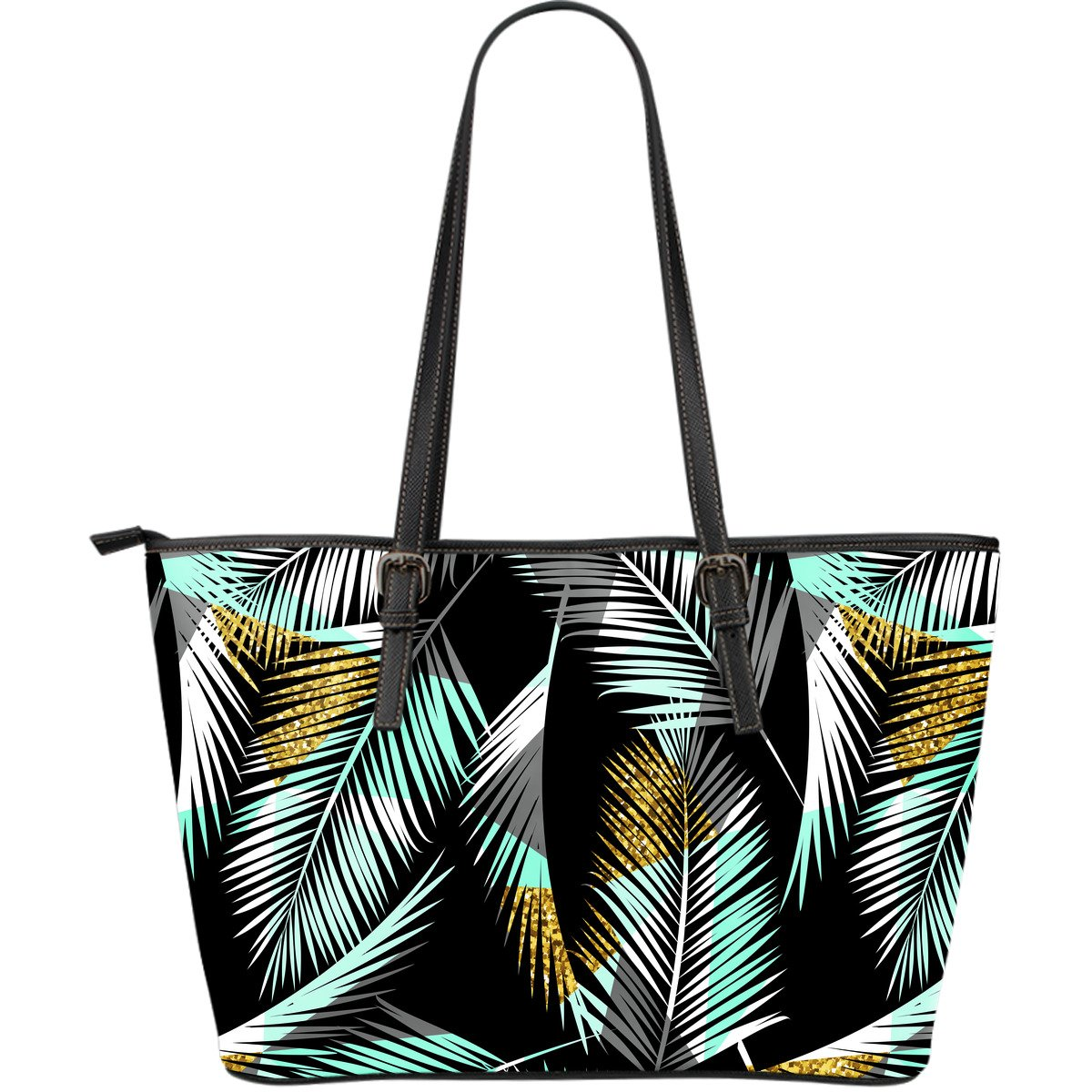 Gold Glitter Cyan Tropical Palm Leaves Large Leather Tote Bag