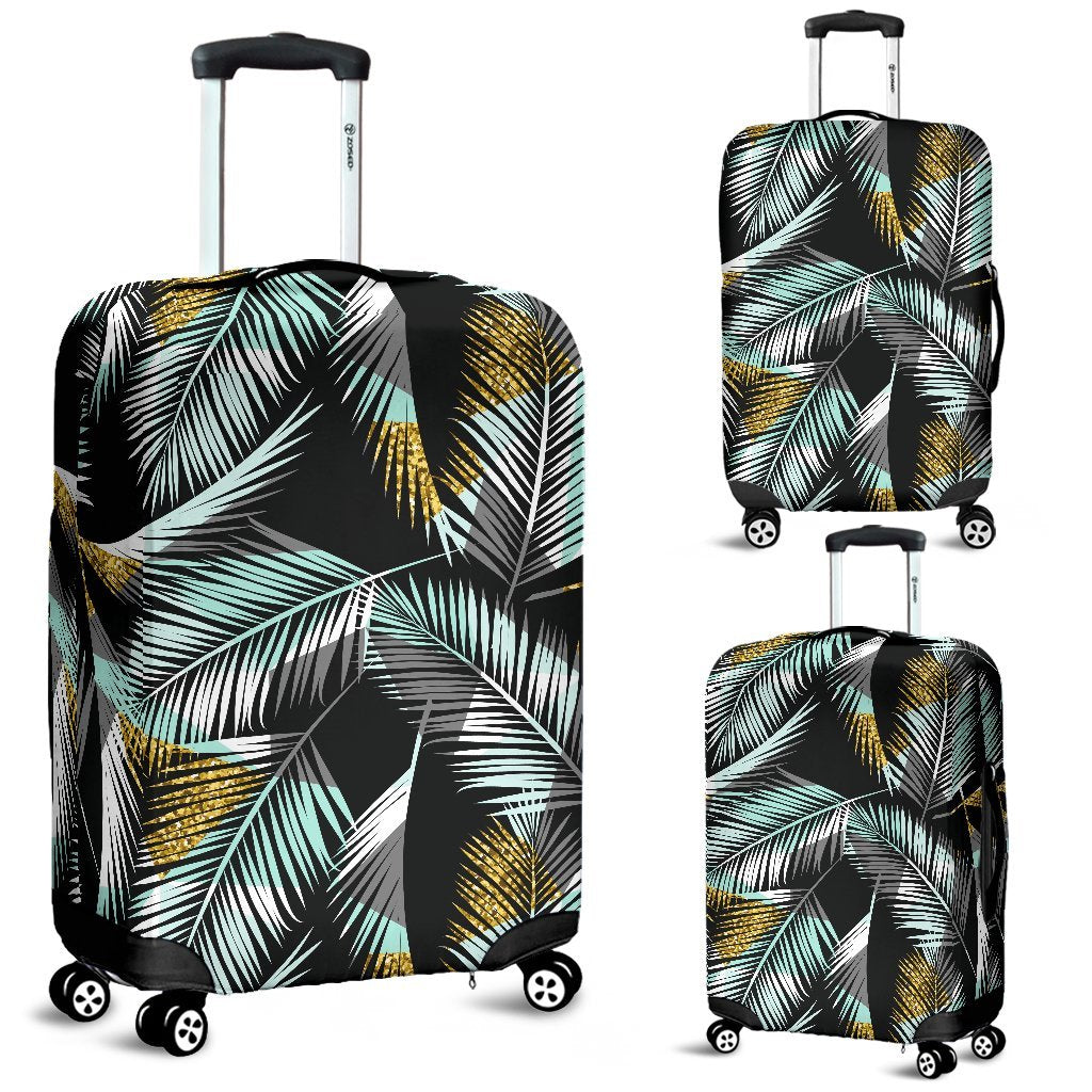 Gold Glitter Cyan Tropical Palm Leaves Luggage Protective Cover