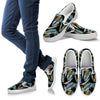 Gold Glitter Cyan Tropical Palm Leaves Men Canvas Slip On Shoes