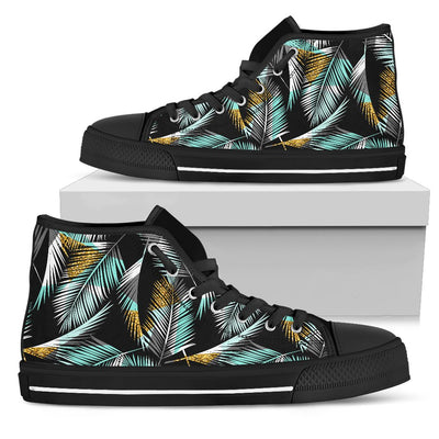 Gold Glitter Cyan Tropical Palm Leaves Men High Top Canvas Shoes