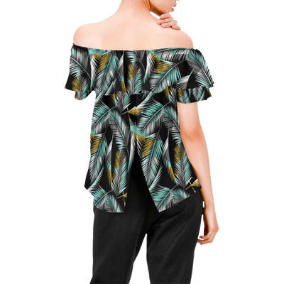 Gold Glitter Cyan Tropical Palm Leaves Off Shoulder Ruffle Blouse