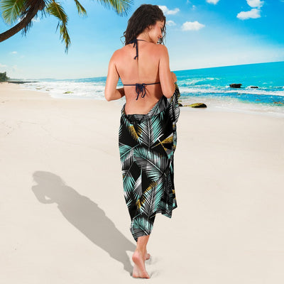 Gold Glitter Cyan Tropical Palm Leaves Beach Sarong Pareo Wrap