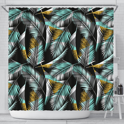Gold Glitter Cyan Tropical Palm Leaves Shower Curtain