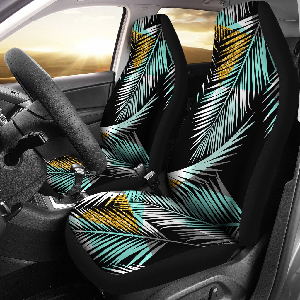 Gold Glitter Cyan Tropical Palm Leaves Universal Fit Car Seat Covers