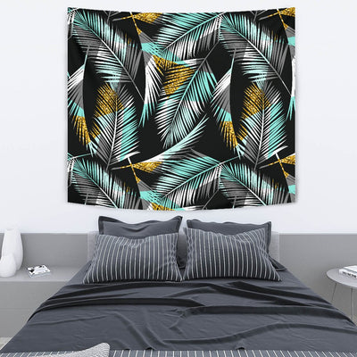 Gold Glitter Cyan Tropical Palm Leaves Wall Tapestry