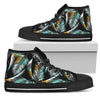 Gold Glitter Cyan Tropical Palm Leaves Women High Top Canvas Shoes