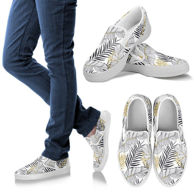 Gold Glitter Tropical Palm Leaves Men Canvas Slip On Shoes