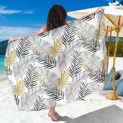 Gold Glitter Tropical Palm Leaves Beach Sarong Pareo Wrap