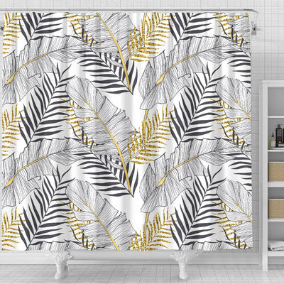Gold Glitter Tropical Palm Leaves Shower Curtain