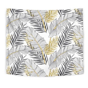 Gold Glitter Tropical Palm Leaves Tapestry