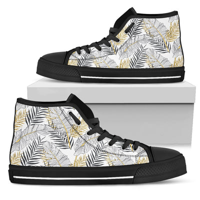 Gold Glitter Tropical Palm Leaves Women High Top Canvas Shoes