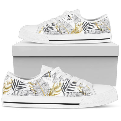 Gold Glitter Tropical Palm Leaves Women Low Top Canvas Shoes