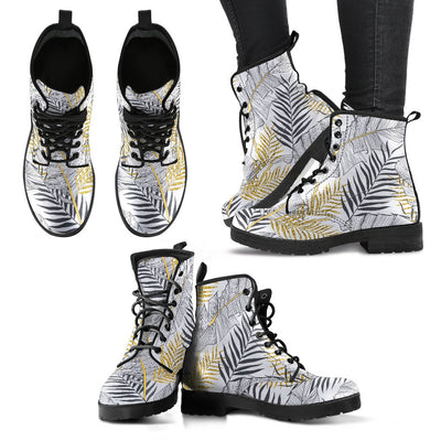 Gold Glitter Tropical Palm Leaves Women & Men Leather Boots