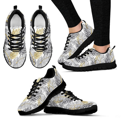 Gold Glitter Tropical Palm Leaves Women Sneakers