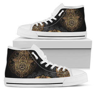 Gold Hansa Hand Mandala Men High Top Canvas Shoes
