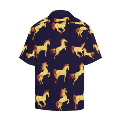 Gold Horse Pattern Men Hawaiian Shirt