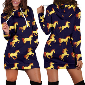 Gold Horse Pattern Women Hoodie Dress