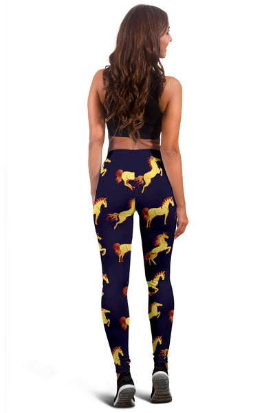 Gold Horse Pattern Women Leggings