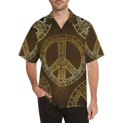 Gold Mandala Peace Men Hawaiian Shirt