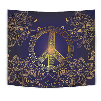 Gold Mandala Peace Wall Tapestry